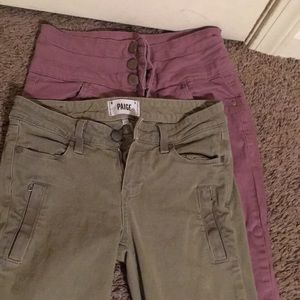 Pink jeans size 3 and green jeans size 26